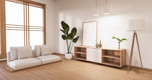 白い床とアームチェアに白い壁のあるリビングルームのキャビネット