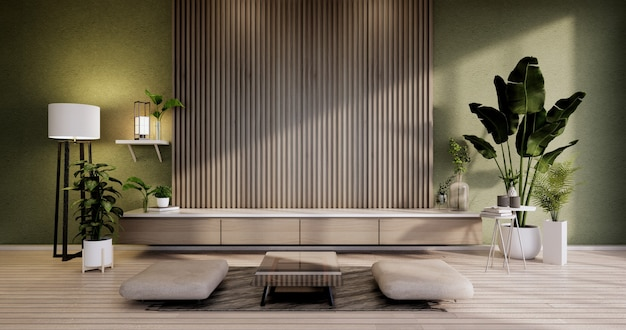 モダンな空の部屋の禅スタイルのキャビネット、ミニマリストデザイン。 3dレンダリング