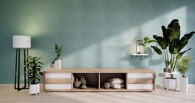 モダンなミントの空の部屋の禅スタイルのキャビネット、ミニマリストのデザイン。 3dレンダリング