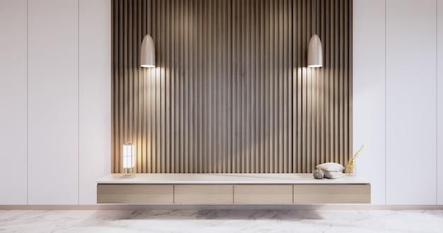 モダンな壁の部屋の禅スタイルのキャビネット、ミニマリストのデザイン、花崗岩の床の壁のデザイン。 3dレンダリング