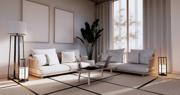 Cabinet in living room with tatami mat floor and sofa armchair design.3d rendering