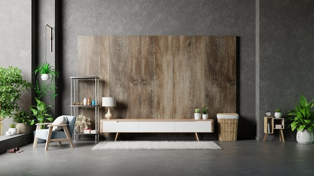 Cabinet in living room on wooden wall