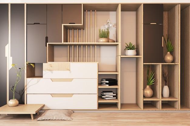 Cabinet mix wardrobe shelf wooden japanese style and decoration plants on shelf.3d rendering