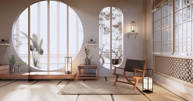 Макет кабинета, минимальная гостиная, татами на полу и дизайн кресла. 3d визуализация