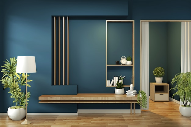 Cabinet mock up on room dark blue on floor wooden minimal design. 3d rendering