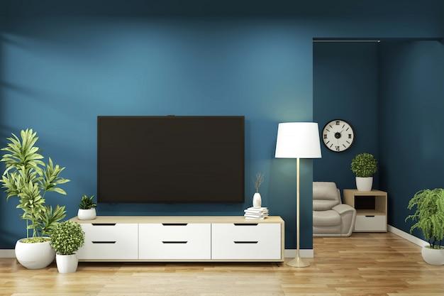 Cabinet mock up on room dark blue on floor wooden minimal design. 3d rendering