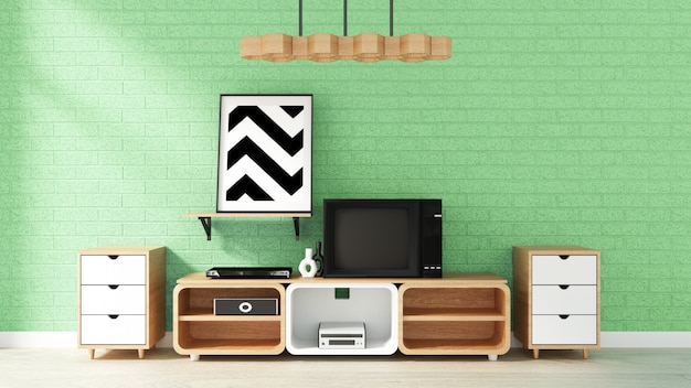 Cabinet mockup on green brick wall in japanese living room. 3d rendering