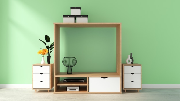Cabinet mockup on green wall in japanese living room. 3d rendering