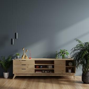 Модель-макет шкафа в современной пустой комнате, темной стене.