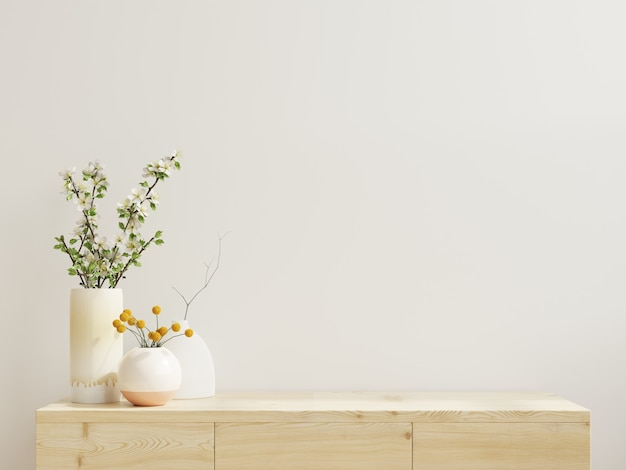 현대적인 빈 방의 캐비닛 모형, 흰색 wall.3d 렌더링