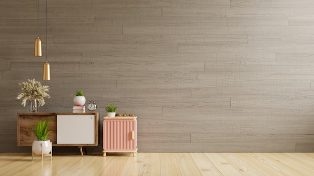 Cabinet mockup in modern empty room,concrete wall,