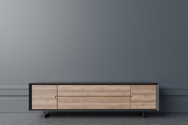 Cabinet mockup in modern empty room,dark wall.