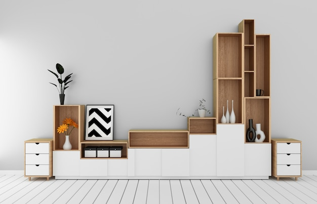 Cabinet mockup in modern empty room,white floor wooden on white wall room japanese style.3d rendering