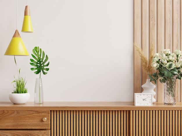 Cabinet mockup in modern empty room,white wall.3d rendering