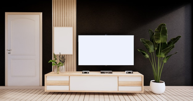 Cabinet in modern empty room,black wall on wooden floor, 3d rendering