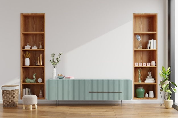 Cabinet in modern empty room, minimal design, 3d rendering