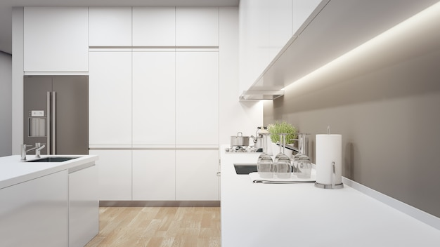 Cabinet of modern kitchen in luxury house