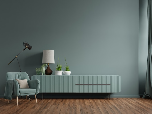 Cabinet in modern living room with armchair,lamp,table,flower and plant on green wall background,3d rendering