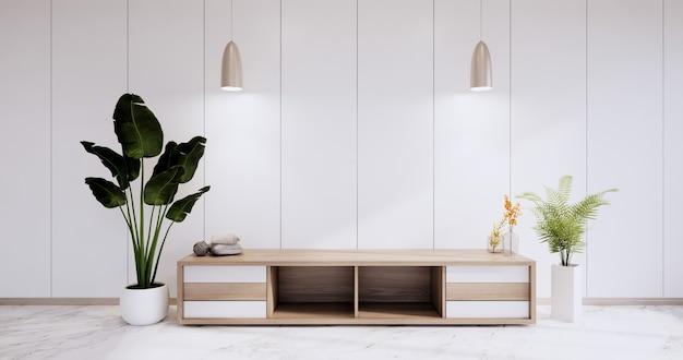 Cabinet in modern wall room zen style,minimalist designs,wall design on granite floor. 3d rendering