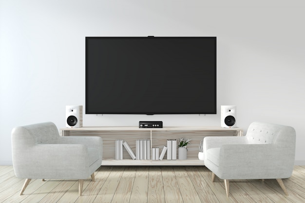 Cabinet and smart tv on wall with decoration zen room japanese style.3d rendering