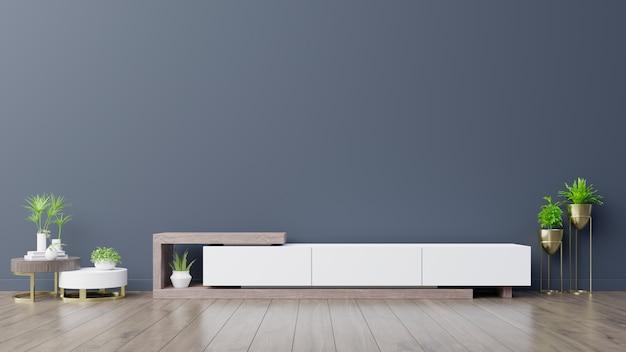 Cabinet tv in empty interior room, dark blue wall with wood shelf