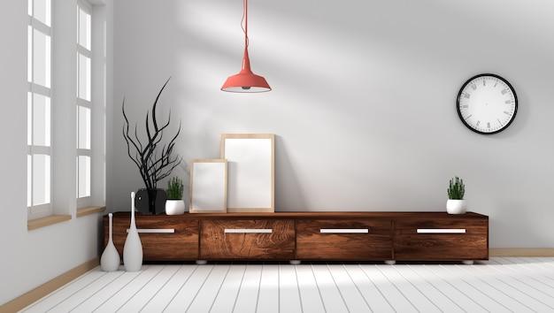 Кабинет-телевизор в современной пустой комнате, минимальный дизайн, 3d-рендеринг