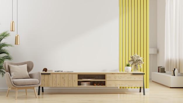 현대 거실의 캐비닛 tv, 빈 흰색 벽에 안락 의자가있는 밝은 거실의 인테리어. 3d 렌더링