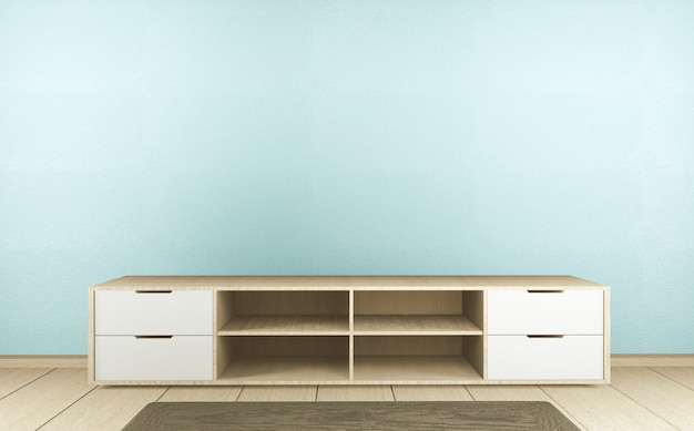 Cabinet tv in mint empty interior room japanese style, 3d rendering
