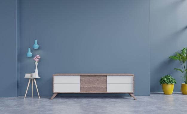 Cabinet tv in modern empty room