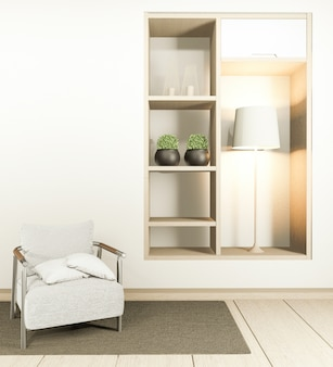 Cabinet tv in white empty interior and armchair room japanese-style, 3d rendering
