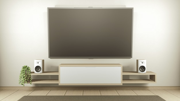 Cabinet tv in white empty interior room japanese-style, 3d rendering