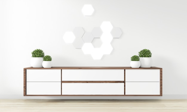Cabinet wooden design in modern empty room japanese - zen style, minimal designs. 3d rendering