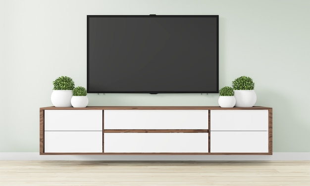 Cabinet wooden design in modern empty room japanese - zen style,minimal designs. 3d rendering