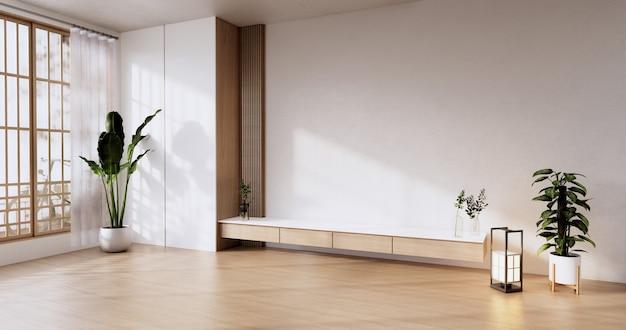 Cabinet wooden design on modern room japanese.3d rendering