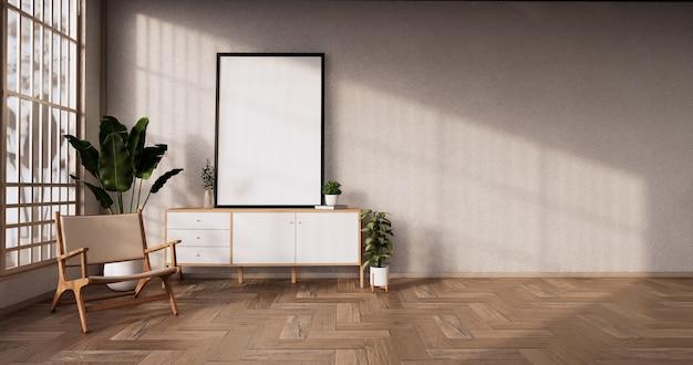 Деревянный дизайн кабинета на современной японской комнате. 3d визуализация