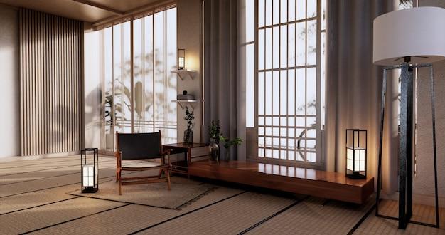 Cabinet wooden design, room interior,modern japanese style.3d rendering