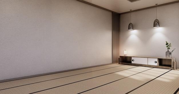 Cabinet wooden design,zen room interior,modern japanese style,decoration.3d rendering