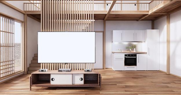 Деревянный шкаф в японском стиле на фоне пустой стены в гостиной в стиле дзэн. 3d визуализация