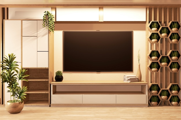 Cabinet wooden japanese style  in room minimal and hexagon shelf on wall.3d rednering