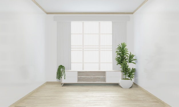 Cabinet woon japanese minimal design on empty room interior design. 3d rendering