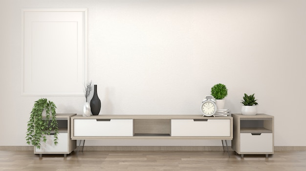 Cabinet in zen living room on white wall, 3d rendering