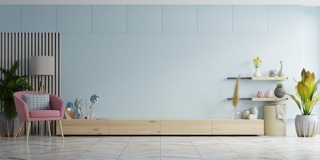 거실, 파란색 벽, 3d 렌더링의 tv 용 캐비닛 및 벽