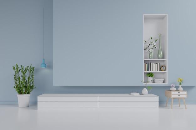 거실, 파란색 벽, 3d 렌더링에 tv 캐비닛 및 벽