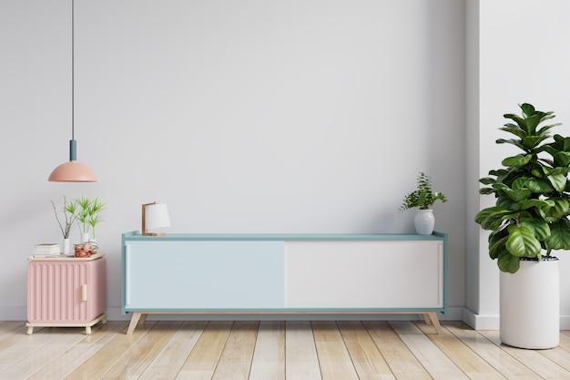 거실, 흰 벽, 3d 렌더링의 tv 용 캐비닛 및 벽