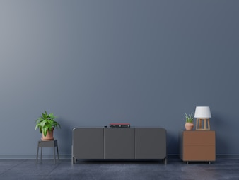 Cabinets for TV in a dark room, dark walls