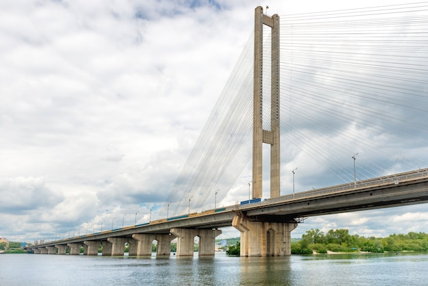 Cable bridge on the river. ukraine, kiev, dnepr
