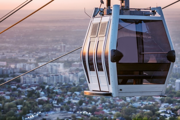 Cable car, beautiful view of the big city