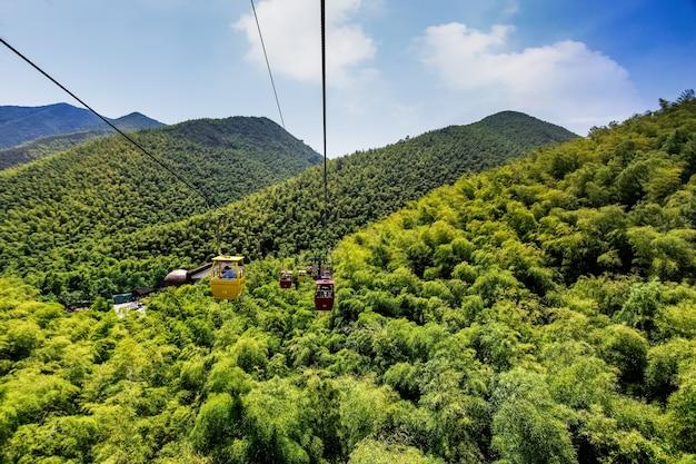 ケーブルカーは乗客を山の中を行き来する。 Premium写真
