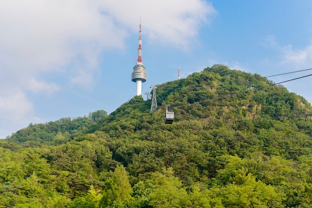 Cable car to n seoul tower in seoul, south korea
