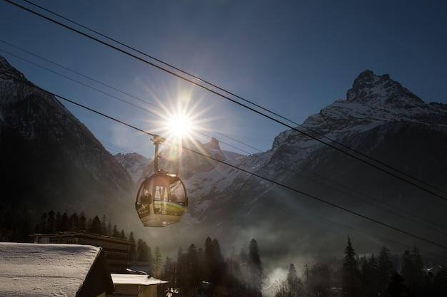 Cable car in ski resort